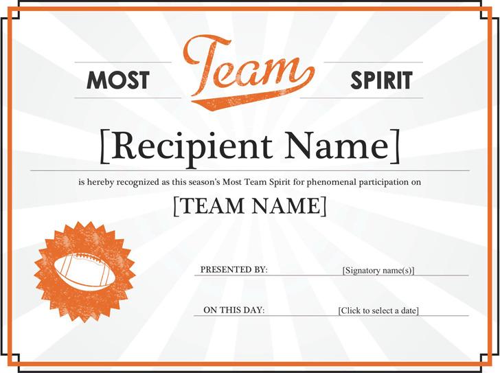 Team Spirit Award Certificate