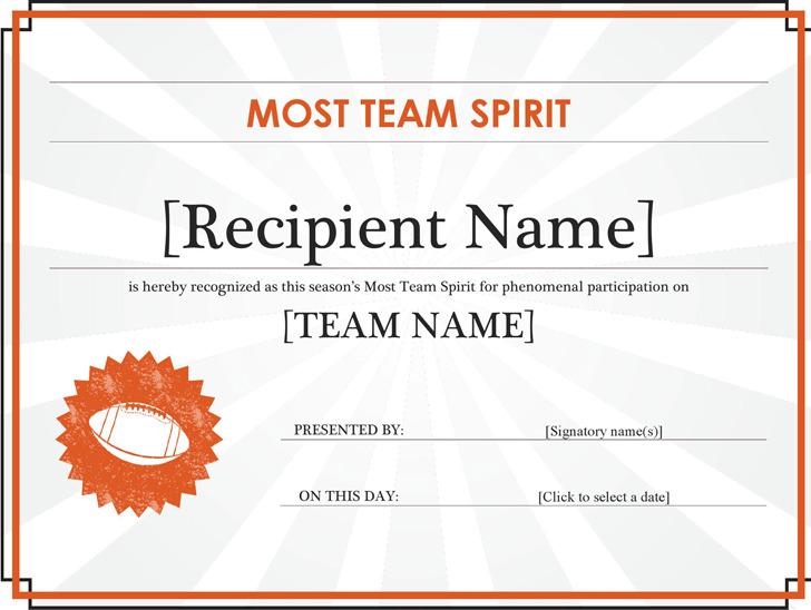 Team Spirit Certificate