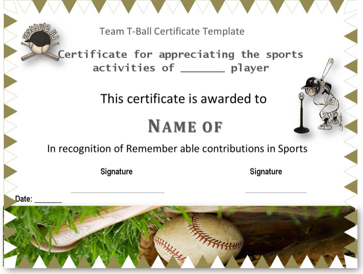 Team T Ball Certificate Template