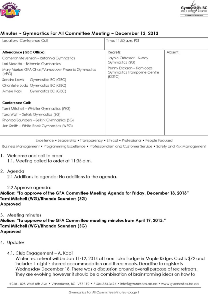 Technical Committee Meeting Agenda Sample
