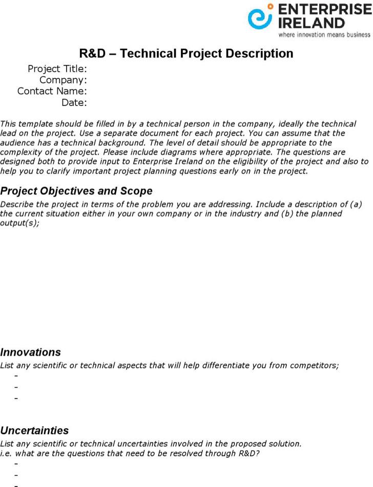 Technical Project Description Template