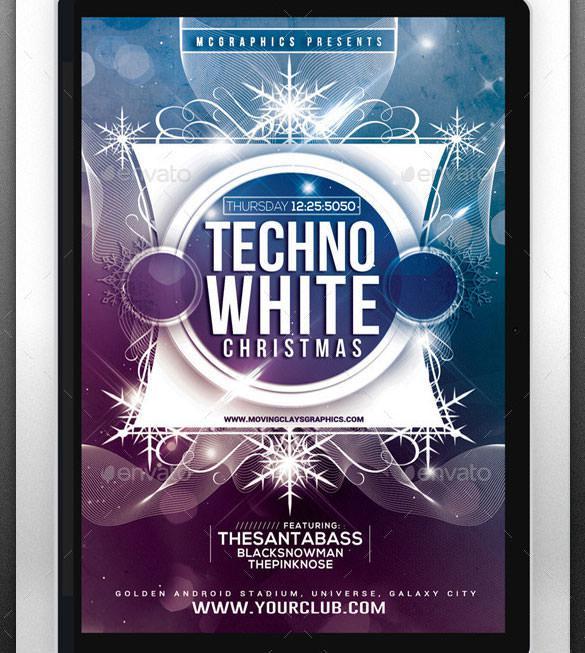 Techno White Christmas Flyer Template CS5 Photoshop
