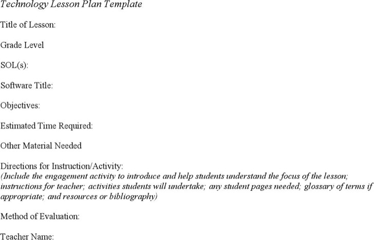 Technology Lesson Plan Template