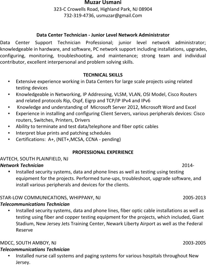 Download Telecommunications Technician Resume For Free