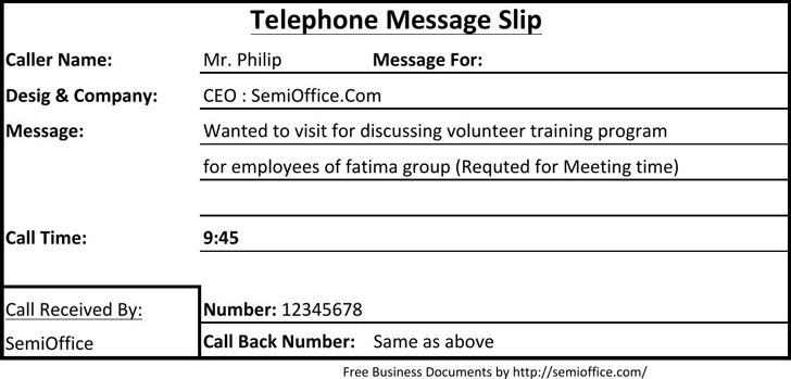 Telephone Message Slip Sample