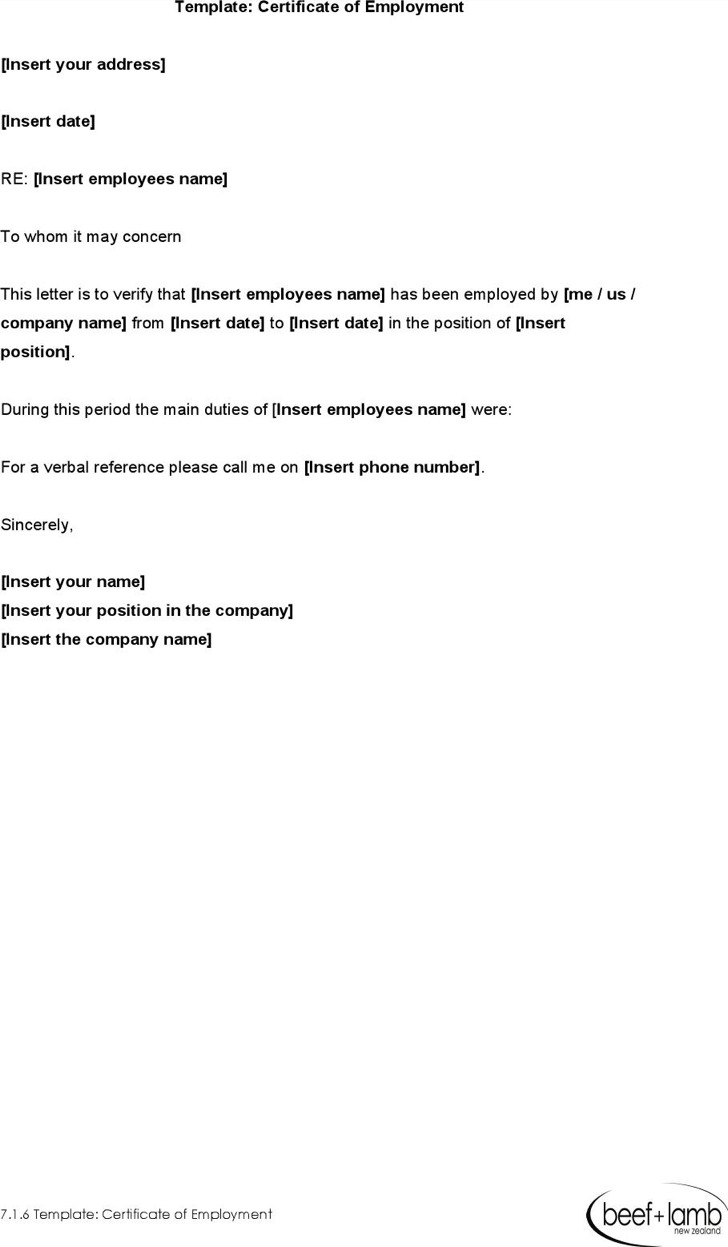 Template Certificate Of Employment