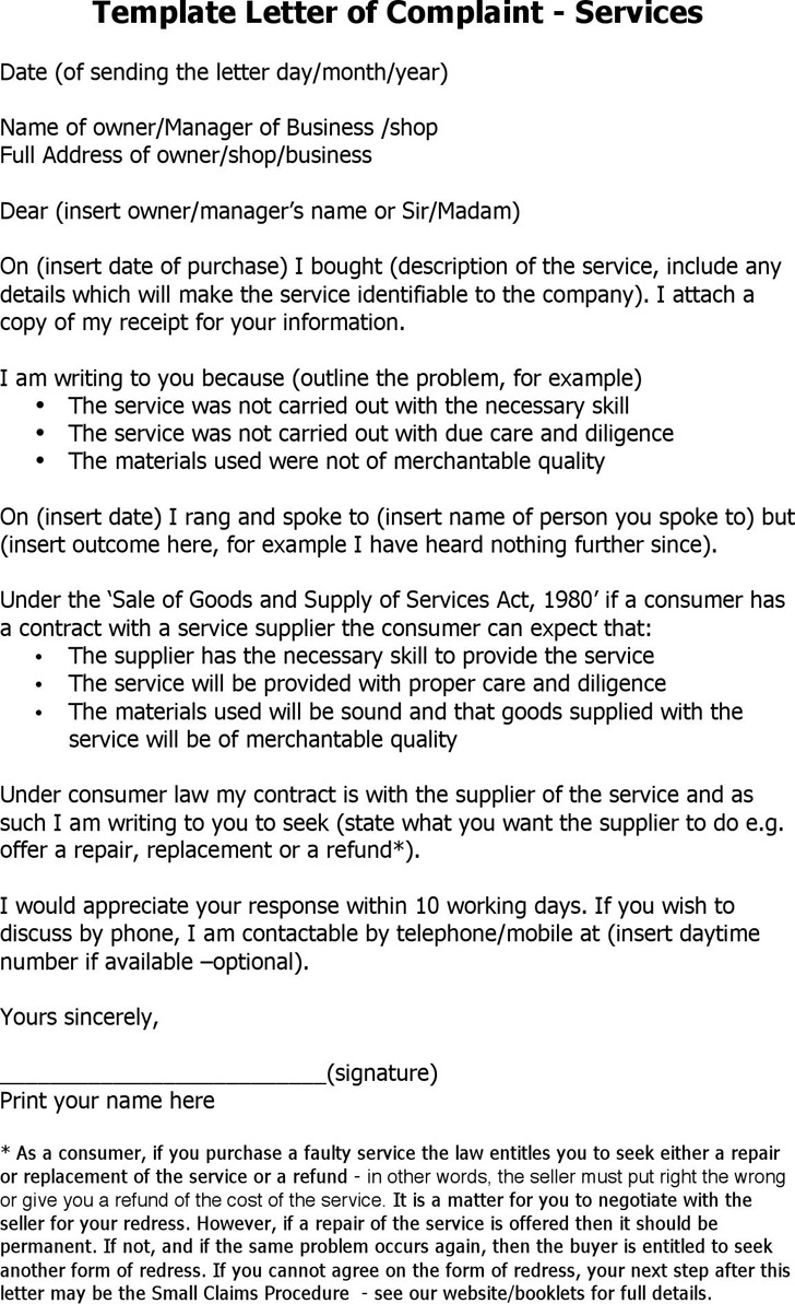 Template Letter of Complaint - Services