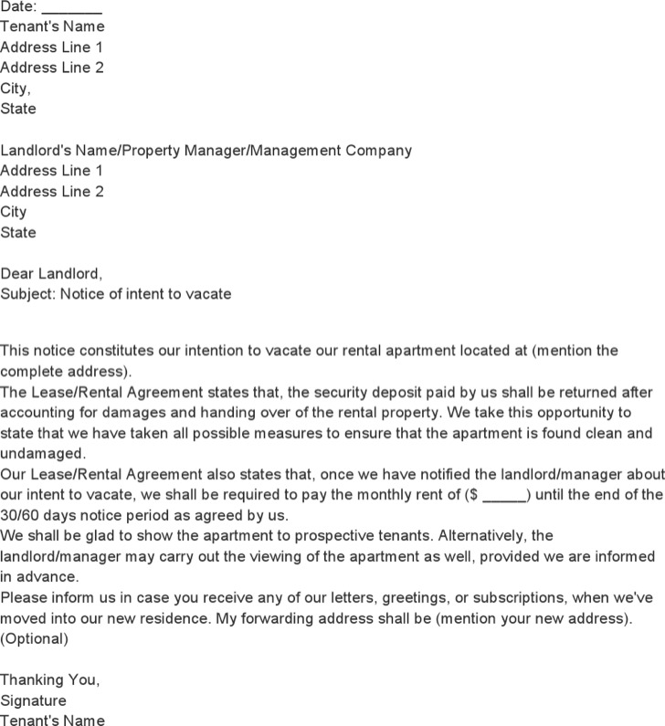Tenant Notice Of Intent To Vacate Template