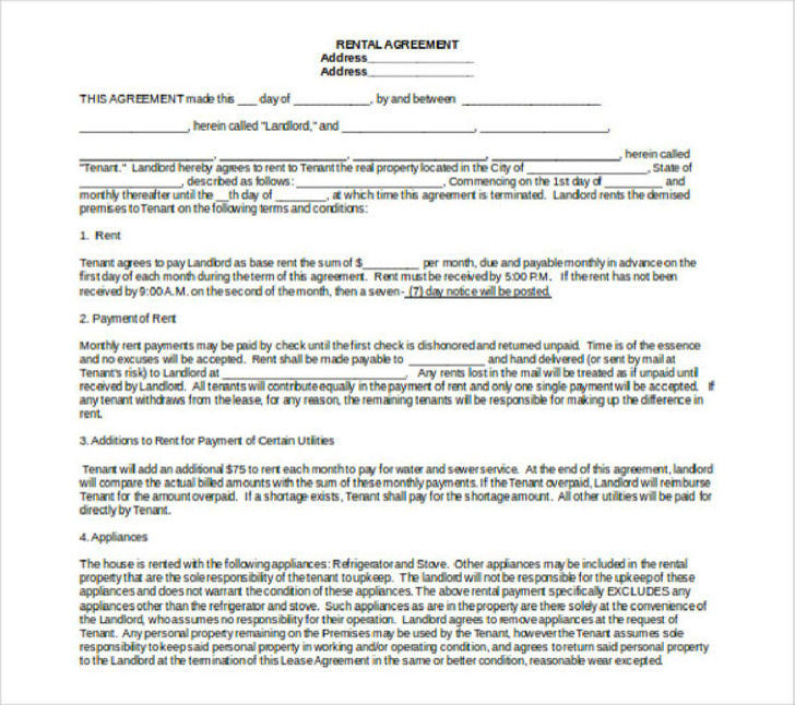 Tenant Rental Agreement Template Free Word1