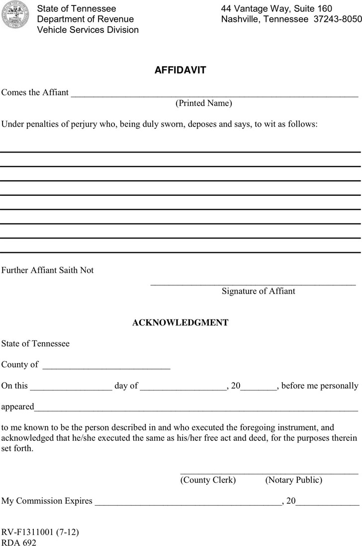 the letter people 4 tennessee affidavit form free 13100 | tennessee affidavit form