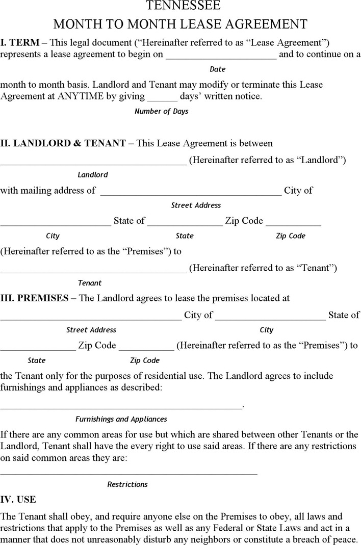Download Tennessee Rent And Lease Template For Free Tidytemplates