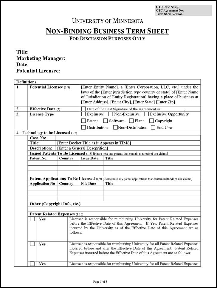 venture capital term sheet template - download sample term sheet for free tidytemplates
