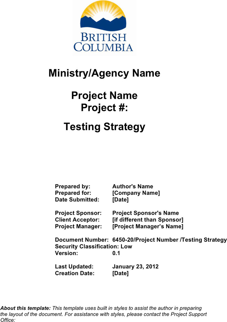Test Strategy Template 2
