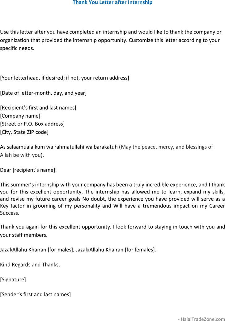 2 Internship Thank You Letter Free Download