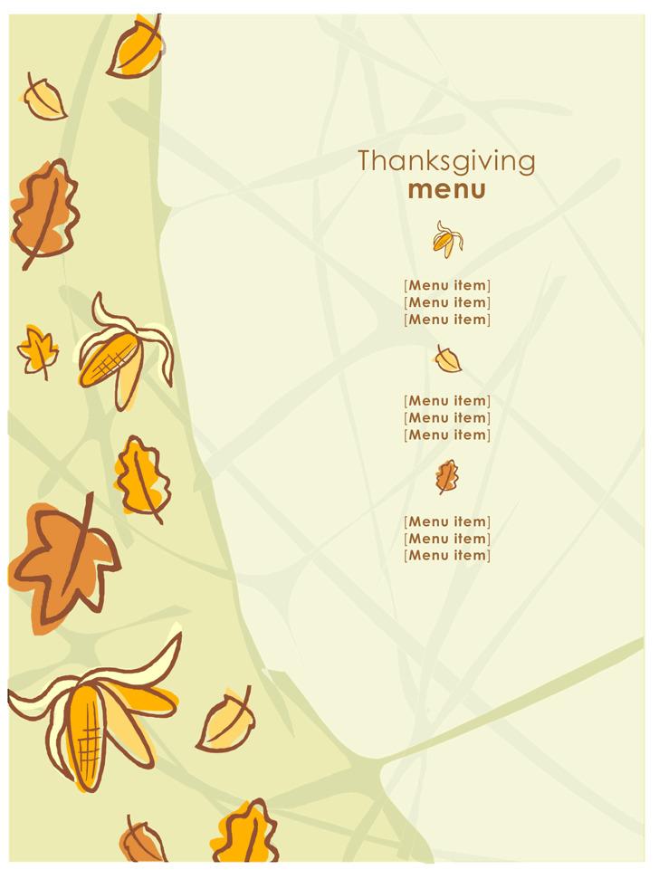 Thanksgiving Menu template 1
