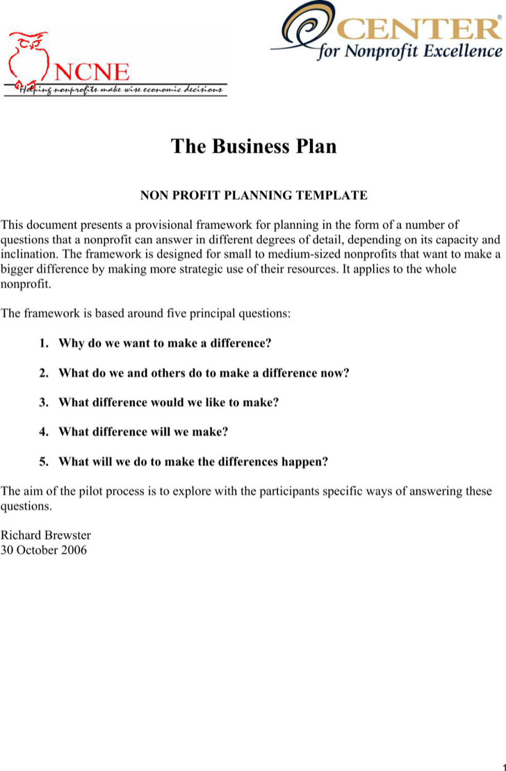 20 non profit business plan template free download the business plan nonprofit pilot template pdf free download accmission Images