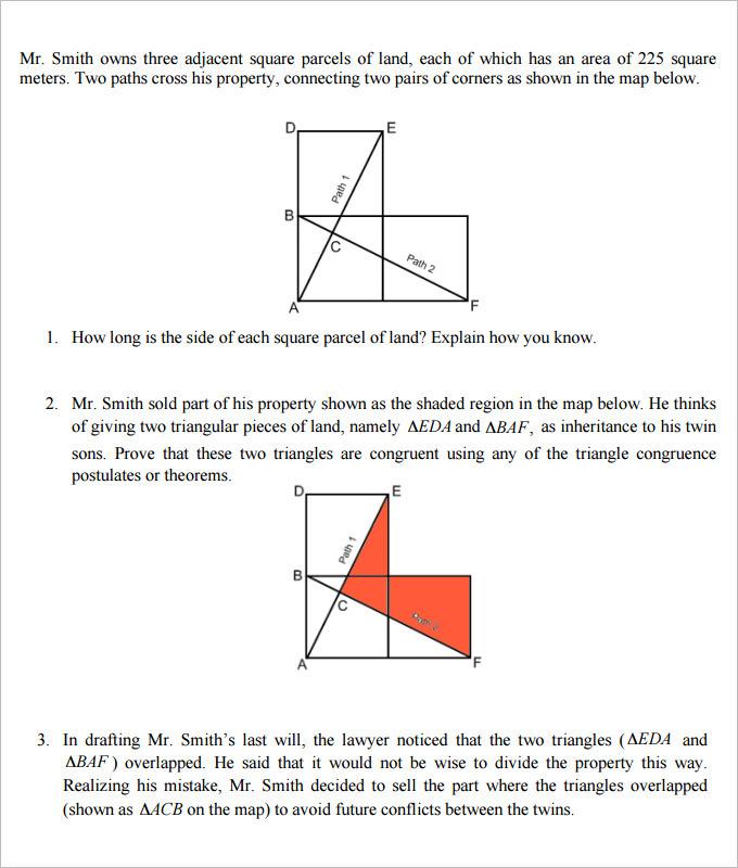 The Inheritance High School Geometry Worksheet Template