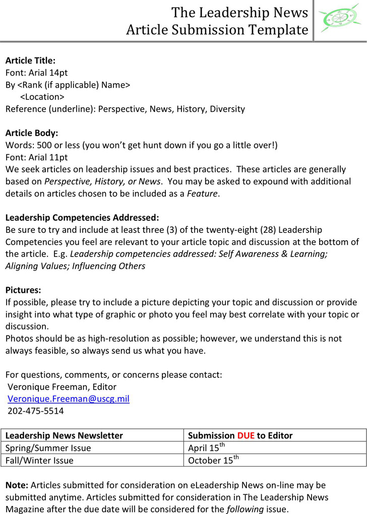 The Leadership News Article Submission Template
