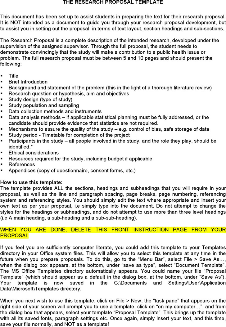 The Research Proposal Template