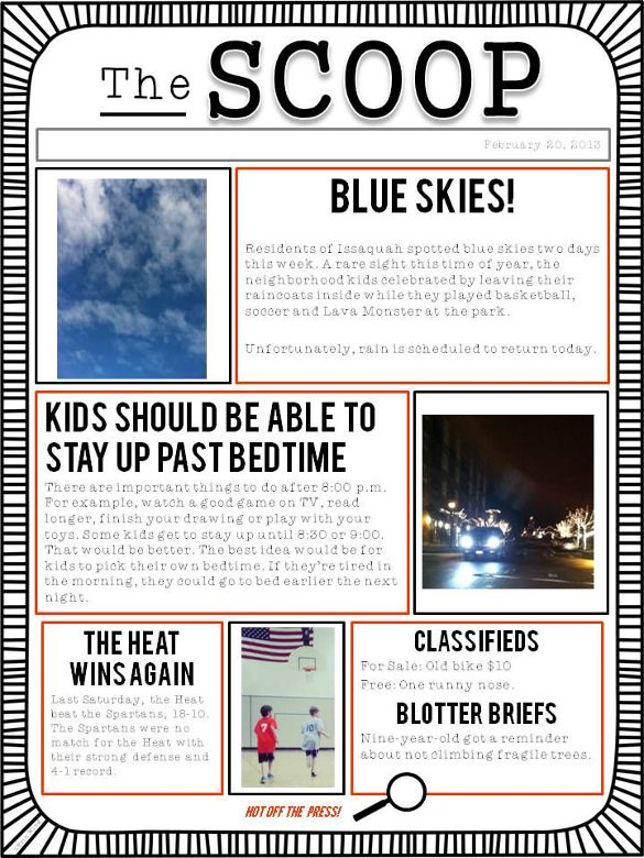 The Scoop Newpaper Template for Kids Download