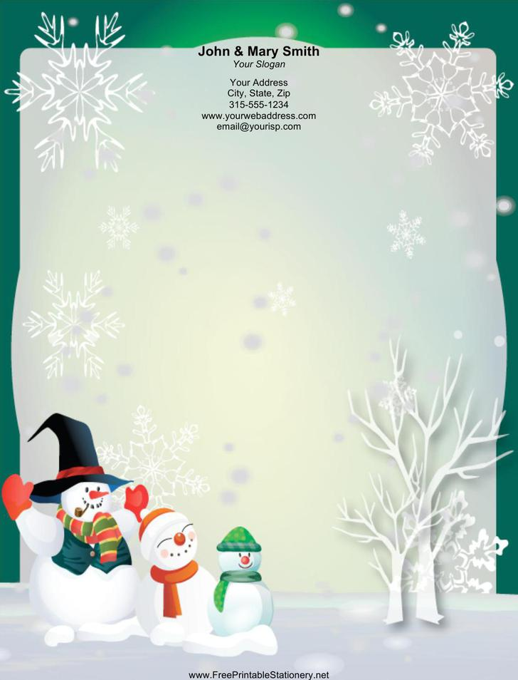 Three Large Snowmen Stationery Design Word Doc