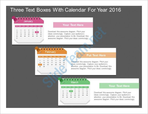 Three Text Boxes With Calendar Schedule Template Powerpoint