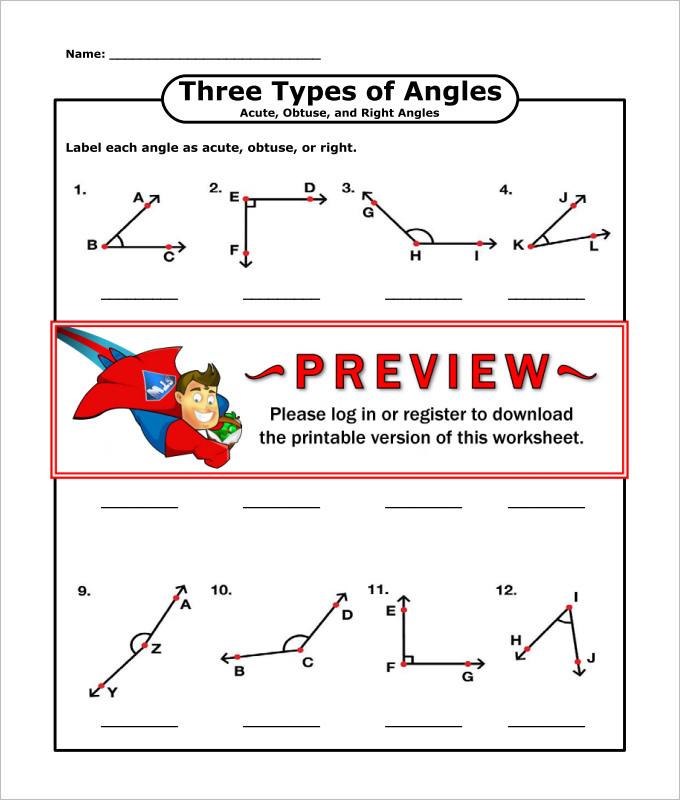 Three Types of Angles High School Geometry Worksheet Template
