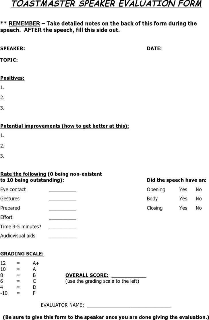 Toastmaster Evaluation Speaker Form Template Word Doc