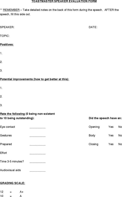 Toastmaster Speaker Evaluation Form