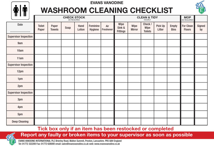 Toilet Cleaning Roster Template