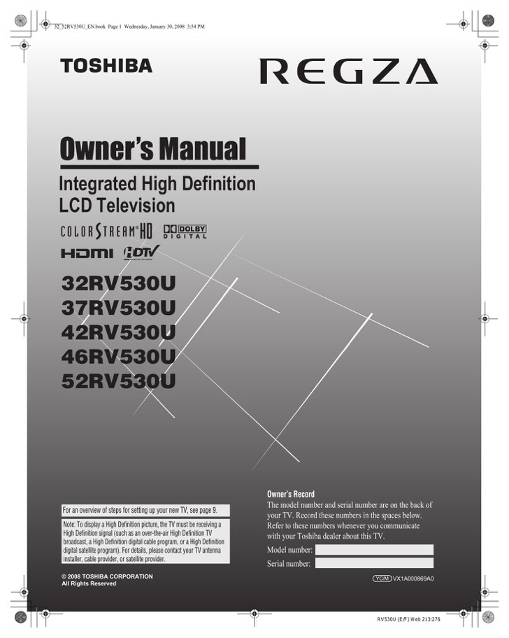 Toshiba Owners Manual Sample