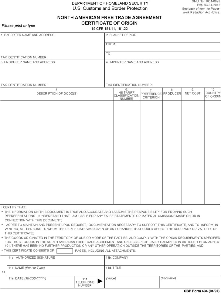Trade Agreement Certificate Download Online