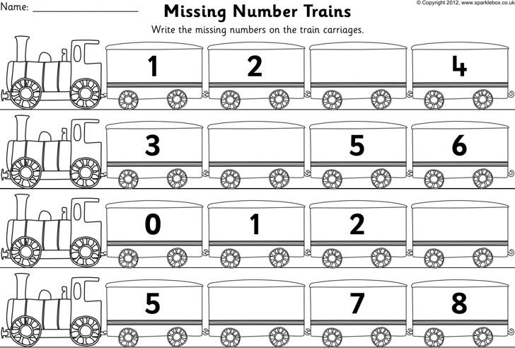 Train Missing Numbers Worksheet Template