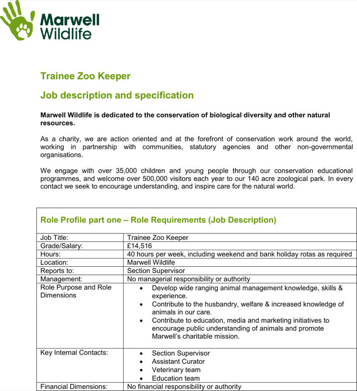 Trainee Zookeeper Resume