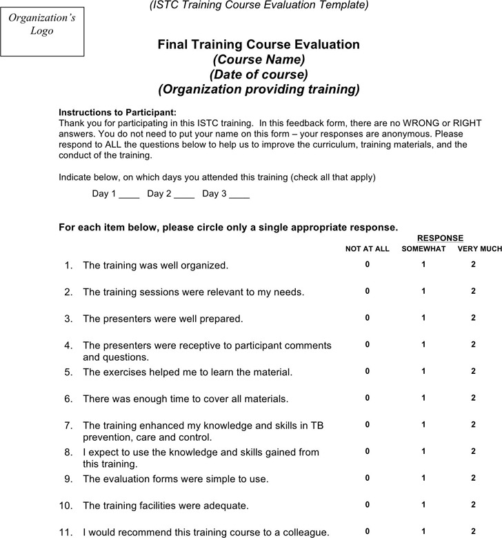 Training Course Evaluation Template