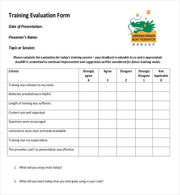 Training Feedback Survey Template in PDF