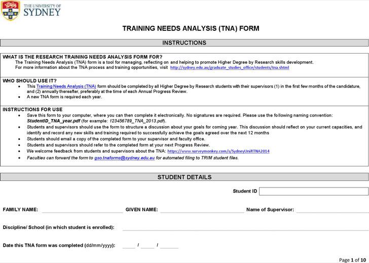 Training Needs Analysis Form