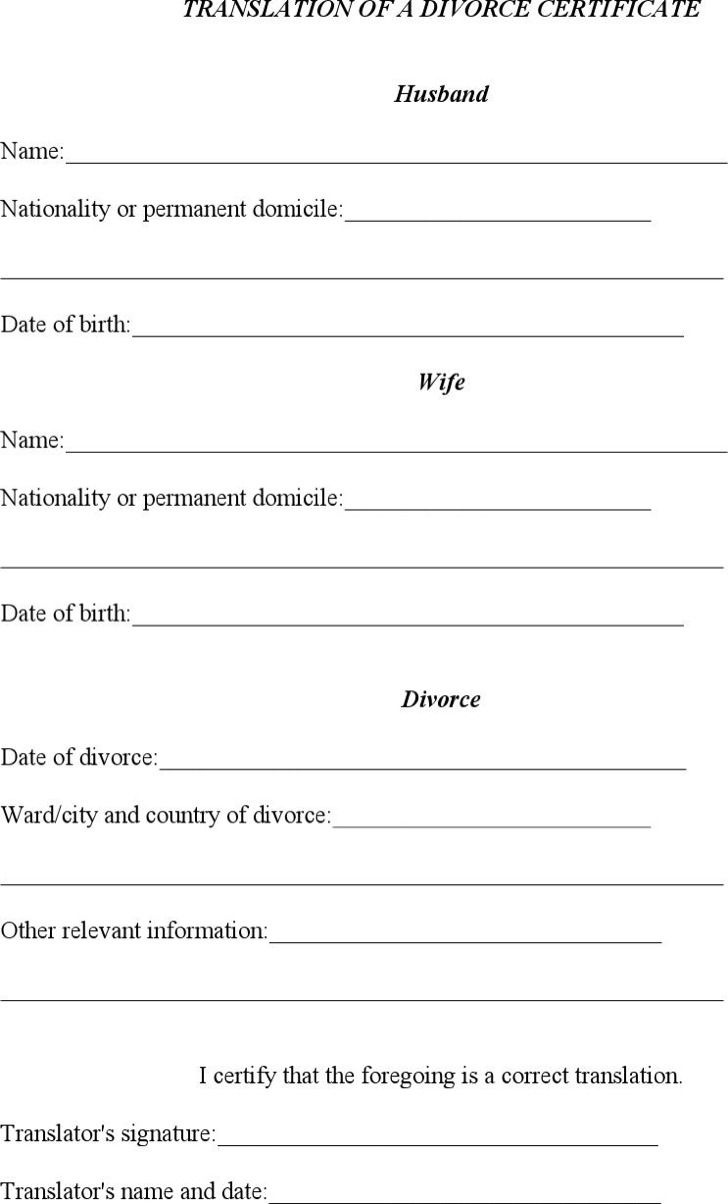 Translation Of A Divorce Certificate Template