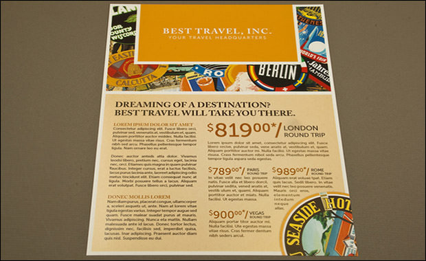 Travel Agency Flyer with Stamp Motif Template