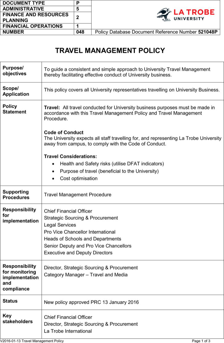 Travel Management Policy Template