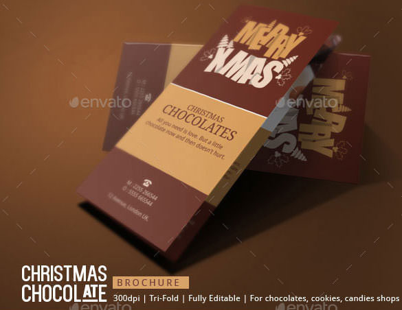 Trifold Christmas Chocolates Brochure Template INDD Format