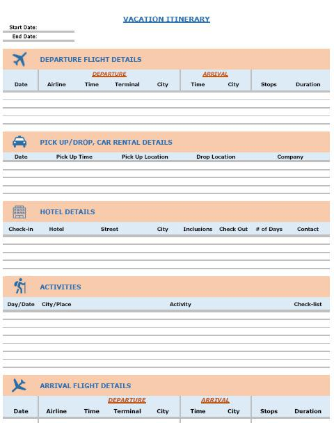Trip Itinerary Template Excel