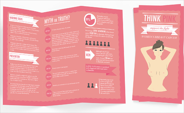 Typography Breast Cancer Brochure Template Download