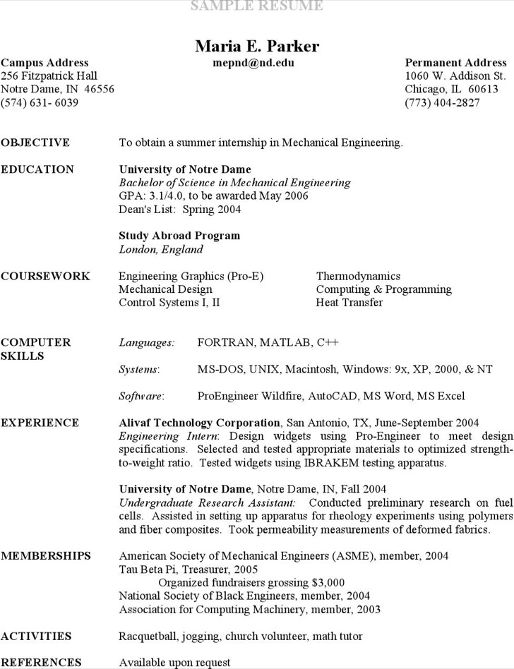 Undergraduate Research Assistant Resume