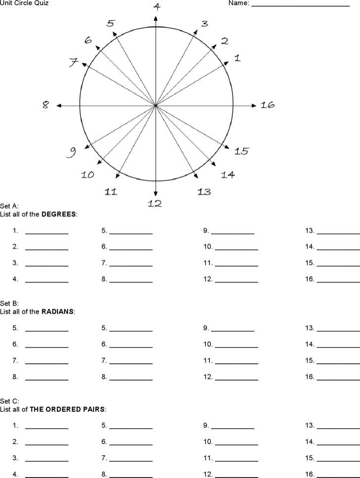 Unit Circle Chart Quiz Free Download