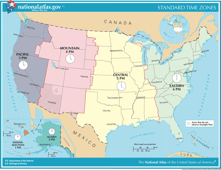 US Standard Time Zones