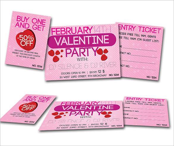 Valentine Dance Party Ticket Template