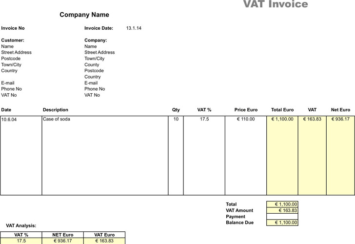 VAT Invoice Template 2