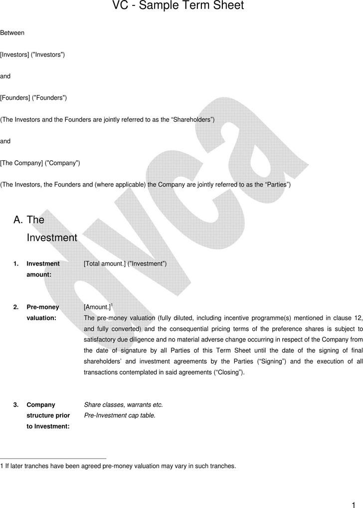 VC - Sample Term Sheet