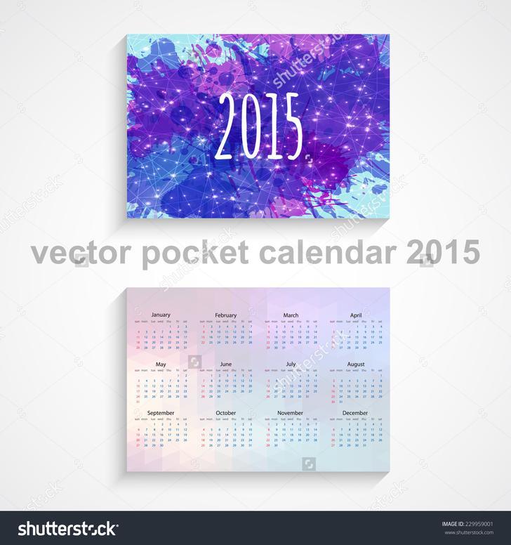 Vector pocket Calendar Template 2015